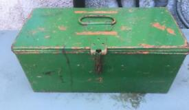 A vintage, solidly built toolbox / storage box