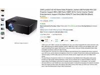 2500 Lumens Full 1080p HD Video Black Projector Support PS4,Xbox HDMI/TF Card Slot/USB/VGA