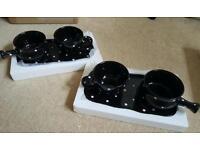 Temp-tations, black polka dot, 6pc soup and sandwich set.
