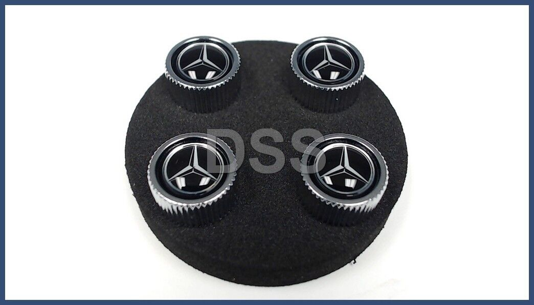 Genuine Mercedes Benz Black Style Valve Caps B66472002 Set of 4
