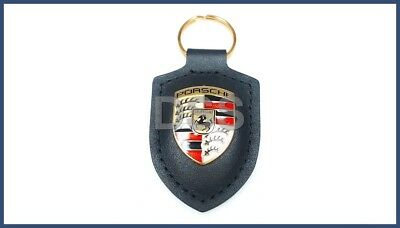Genuine Porsche Leather Key Fob Keyring Keychain Emblem Black Crest WAP0500900E