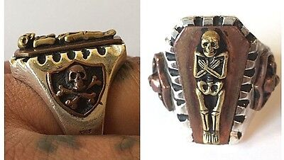 1940s Jewelry Styles and History 1940s 1950s Mexican Biker Skull Coffin Punk Goth Novelty Ring Vintage Rockabilly $100.00 AT vintagedancer.com