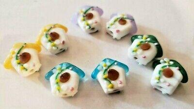 8 Mixed Color Intricate Lampwork Glass Flowered Bird House DIY Beads