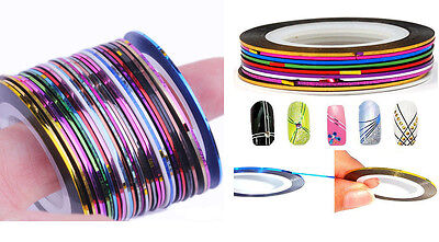 Lots 30Pcs Mixed Colors Rolls Striping Tape Line Nail Art Decoration Sticker