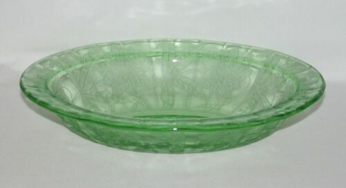 Jeannette Glass FLORAL Poinsettia Green Oval Vegetable Bowl