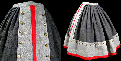 1950's FULL MILITARY SKIRT Neiman Marcus Italy 50s Vintage Dress Rockabilly Wool