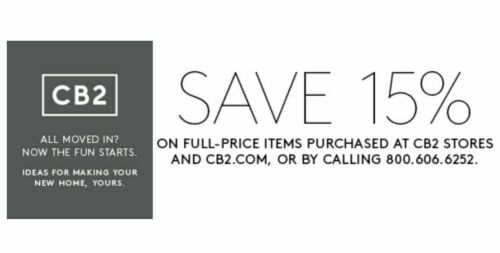 CB2 15% OFF Purchase 1Coupon Discount Expires 7/31/2020