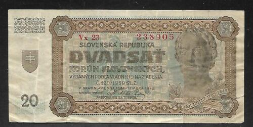 Slovakia - Old 20 Korun Note - 1942 - P7a - VF
