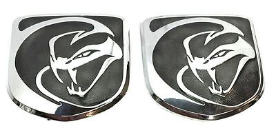 x2 New BLK Dodge SRT Viper - Striking Snake Hood Emblem Replaces OEM: 1VN1706SAA
