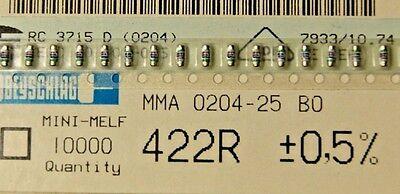 1000pcs Resistor 422 Ohm Minimelf 25ppm 0.5 0.4w Mma020450bo 422r Beyschlag