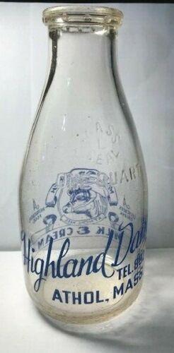 Vintage Round Squat Quart Milk Bottle -Highland Dairy, Athol, MA  (blue)