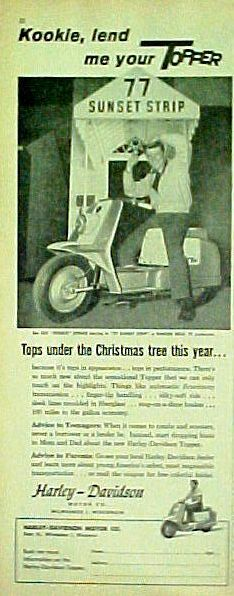 "1959 EDD ""KOOKIE"" Byrnes 77 Sunset Strip Harley Topper TV Show Memorabilia AD"