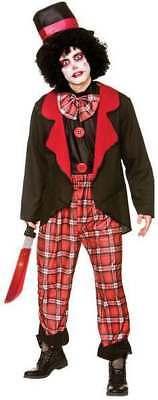 Mens Red/Black Deluxe Freaky Clown Halloween Halloween Costume (Freaky Clown Costume)
