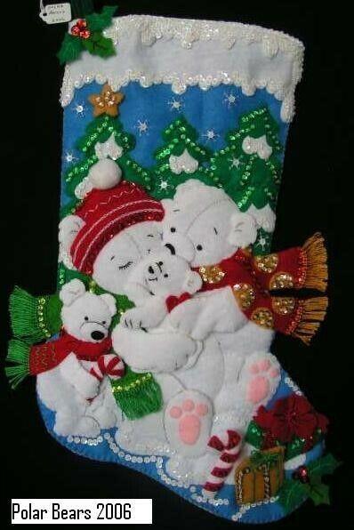 "NEW Handmade 18"" Bucilla Polar Bears Felt Stocking"