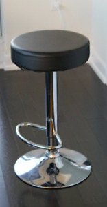 Leather Metal Chrome Contemporary Backless Armless Bar Stool