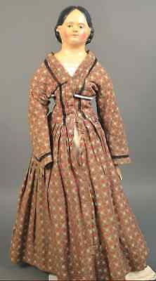 "Award Winning Antique Early 19"" Paper Mache Milliner's Model Lady Doll Wood Limb"
