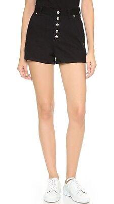 NWT $295 Rag & Bone Branson Shorts Black High Waist Front Pockets Casual Sz: 4