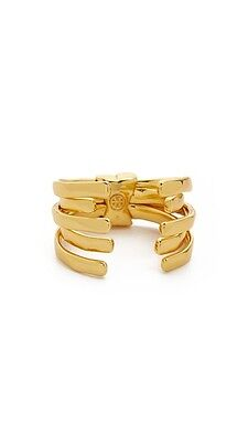 NWT Authentic TORY BURCH Logo Wrap Crescent Ring in Shiny Gold Size 7 $95