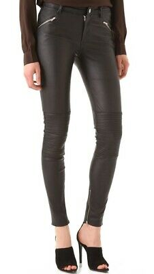 BLK DNM WOMENS LEATHER MOTO SKINNY PANTS SIZE 26 NEW WITH TAG