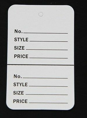 500 White Small 1.14 X1.78 Perforated Unstrung Price Consignment Store Tags