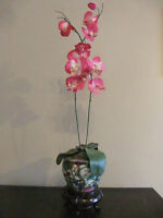 "Beautiful 30"" artifical Orchids w/traditional Chinese vase"