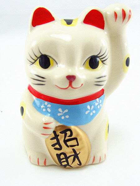 "Maneki Neko Ceramic Lucky Cats Coin Banks-3.5"" tall"