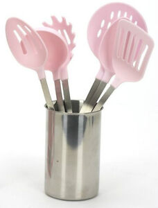 Breast-Cancer-7-Piece-Kitchen-Cooking-Utensil-Set-In-Pink-Steel