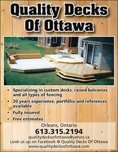 QUALITY DECKS OF OTTAWA (613) 315-2194