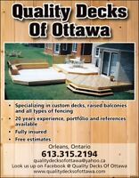 QUALITY DECKS OF OTTAWA ***613-315-2194***