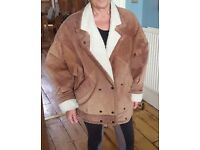 Super vintage genuine NUAGE leather swade jacket LARGE