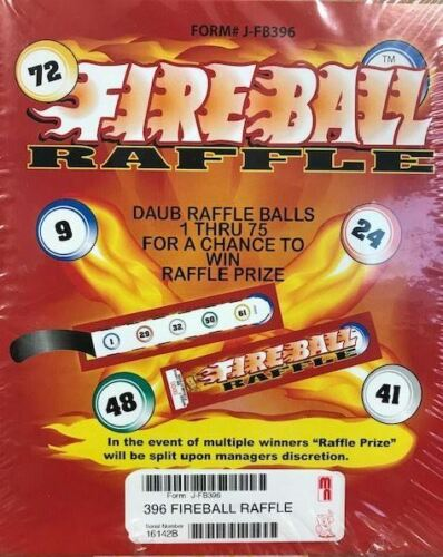 "1 Window ""FIREBALL RAFFLE"" Bingo Event Tab Ticket- 396ct - FREE SHIPPING"