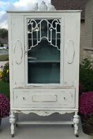 Vintage Distressed White Hutch with Duck Egg Blue Interior