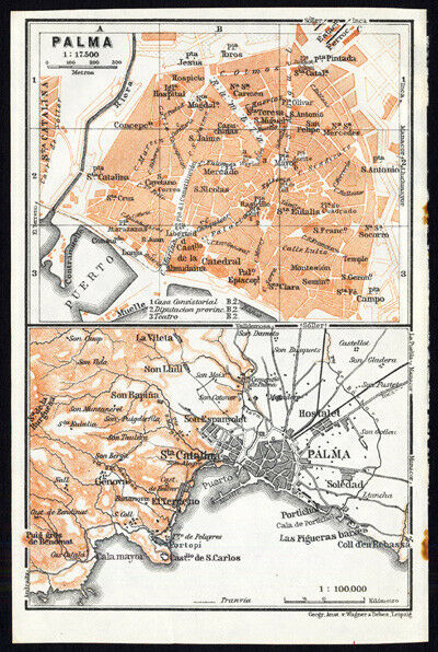 Antique Map-SPAIN-PLAN OF PALMA-Karl Baedeker-1913