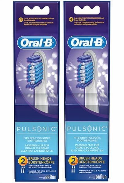 4 Oral-b Pulsonic Replacement Toothbrush Brush Heads No P...