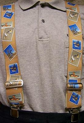 "Suspenders 2""x48"" FULLY Elastic Duck Hunting Stamps NEW Tan"