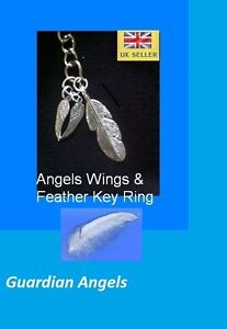 Feather & Angel Wings Key Ring (Guardian Angels)