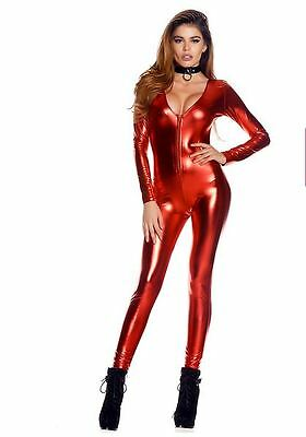Red Jumpsuit Halloween Costume (Sexy Metallic Red Zipper Front Jumpsuit Bodysuit Super Hero Halloween)