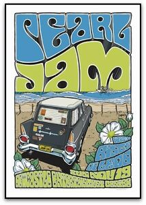 PEARL JAM KINGS OF LEON NEWCASTLE AUSTRALIA 2006  POSTER ART DAYMON GREULICH