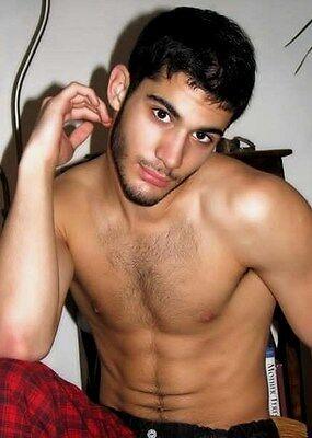 Shirtless Male Handsome Dude Hairy Chest Beard Dark Hair Guy PHOTO 4X6 N164