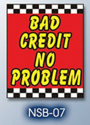 """Bad Credit No Problem Car Dealer auto under hood sign 40"""" x 29"""" made in USA"""