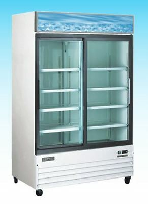 Omcan Re-cn-0045 45cf 2-door Commercial Glass Cooler Refrigerator Merchandiser