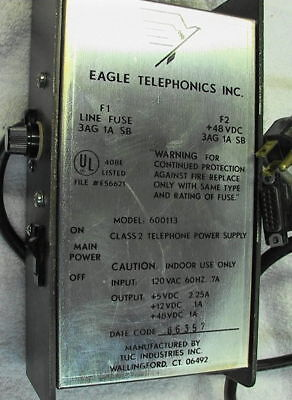 Eagle Telephonic Dc Power Supply 600113 3output 5 12 48