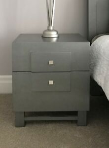 Pair of Silver Nightstands or Bedside Tables with draws