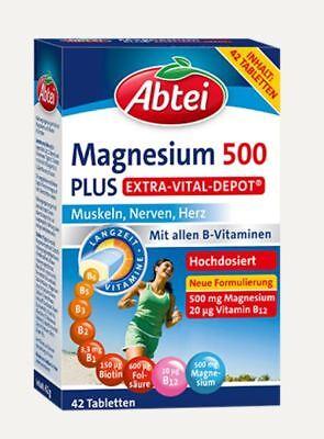 Abtei Magnesium 500 Plus Extra Vital Depot, allen B-Vitamine 42 St. PZN 13423357