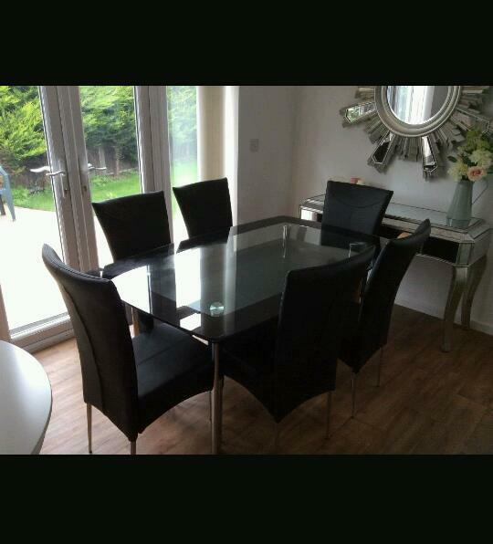 HARVEYS Boat Range Dining Table And 6 Leather Chairs
