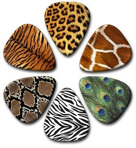 6 Animal Skin ~ Guitar Picks ~ Plectrums ~Plectra  *PRINTED BOTH SIDES*