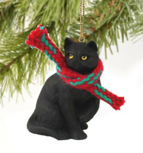 BLACK SHORTHAIR TABBY CAT CHRISTMAS ORNAMENT HOLIDAY Figurine kitten gift