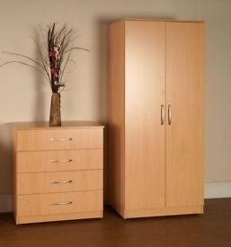 BRAND NEW PRE ASSEMBLED 2 DOOR WARDROBE, CHEST OF DRAWERS & BEDSIDE CABINETS READY MADE