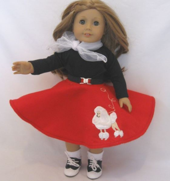 "Lovvbugg Red Poodle Skirt Set Maryellen for 18"" American Girl Doll Clothes"