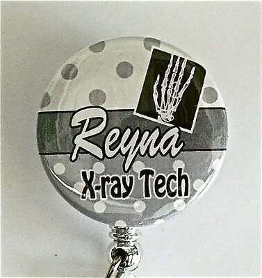 (X-RAY TECH ID BADGE REEL RETRACTABLE  TEACHER. MEDICAL, NURSE , AIRLINES)
